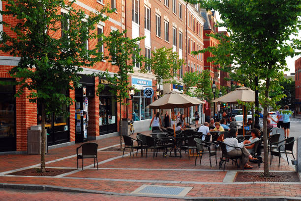 Outdoor dining in a charming downtown stock photo
