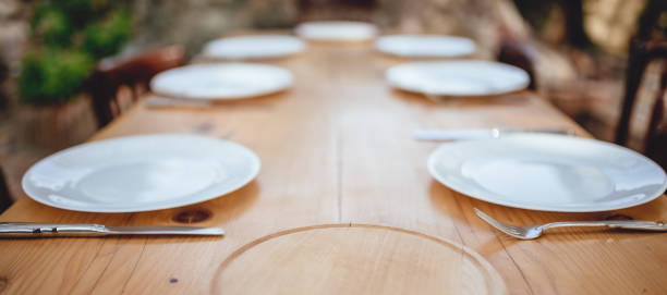 Outdoor dining table setup stock photo