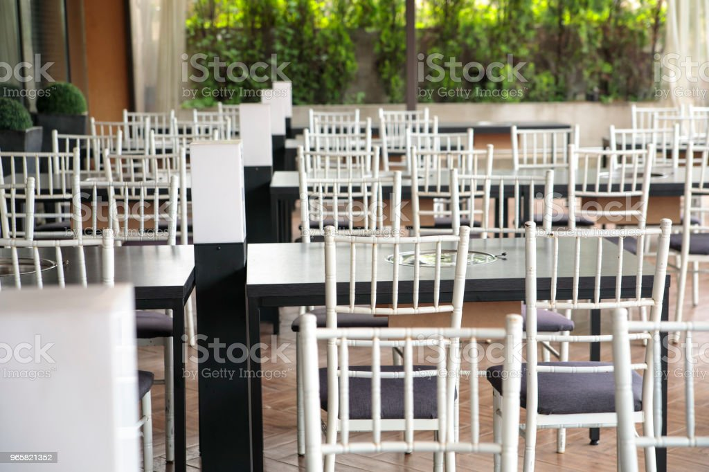 Outdoor dining tables and chairs - Royalty-free Absence Stock Photo