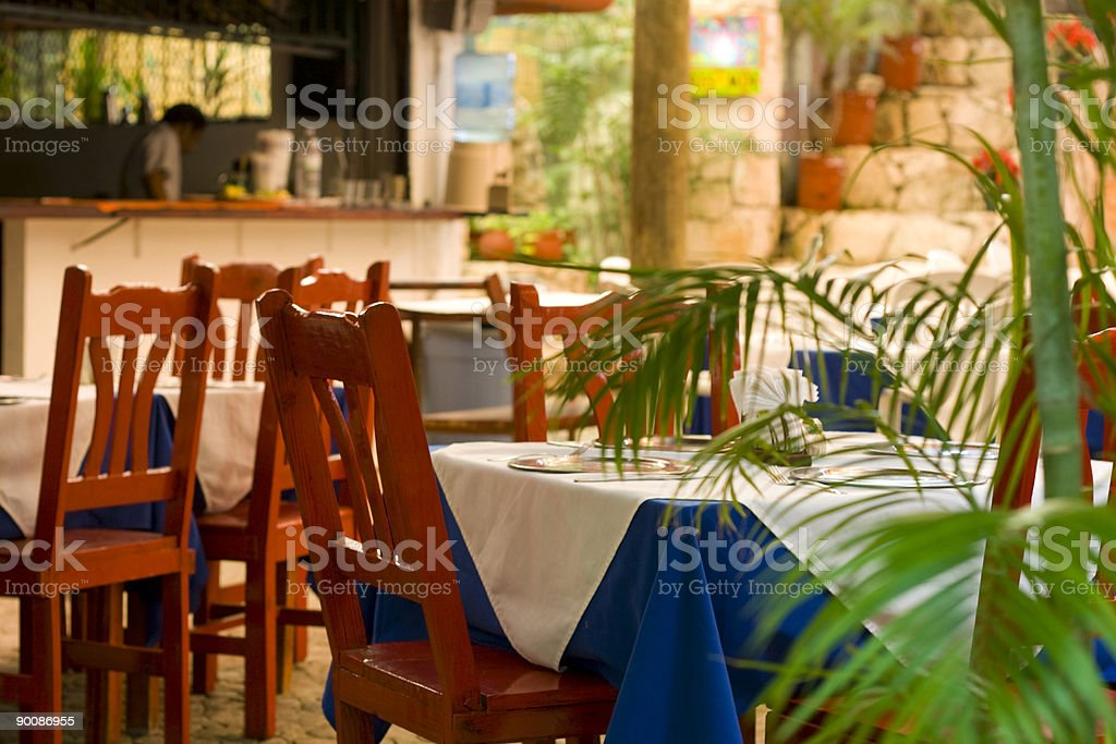 Outdoor dining tables at restaurant stock photo