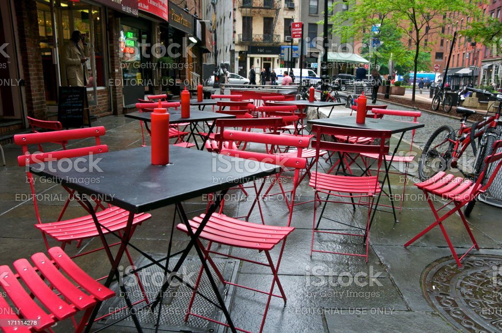 Outdoor eating place, rainy day, Lower Manhattan Financial District, NYC royalty-free stock photo