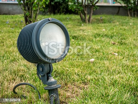 istock Outdoor electric lightsource. LED lamp for outdoor directional light. 1261345018