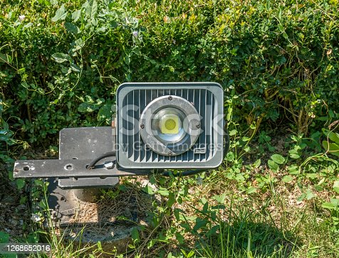 istock Outdoor electric lightsource. LED lamp for outdoor directional light. 1268652016