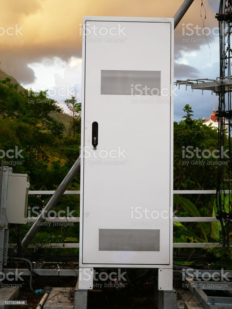 outdoor electrical control panel in distribution fuse box - stock image
