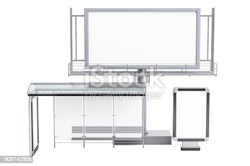 istock Outdoor empty advertising billboard, blank light box and bus stop with advertising panels, 3D rendering isolated on white background 908742908