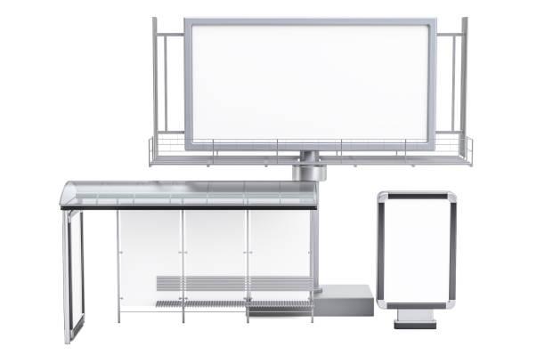Outdoor de publicidade exterior vazio, caixa de luz em branco e paragem de autocarro com publicidade painéis, 3D, renderização isolado no fundo branco - foto de acervo