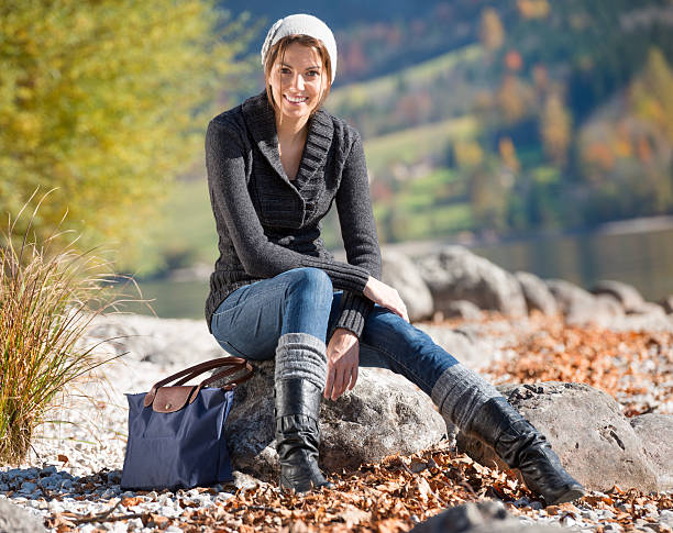 outdoor fashion, fall colors (xxxl) - fall fashion stock photos and pictures