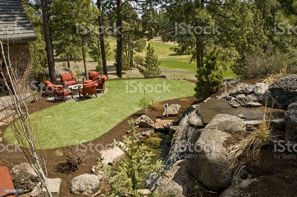 Outdoor fire pit stock photo