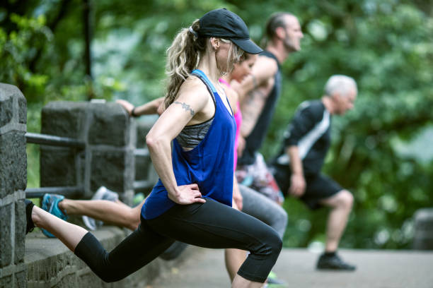 Outdoor Fitness Class stock photo