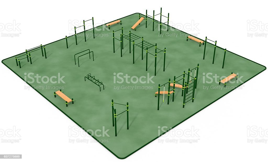 Outdoor Fitness Equipment For Workout In Public Park 3d Rendering