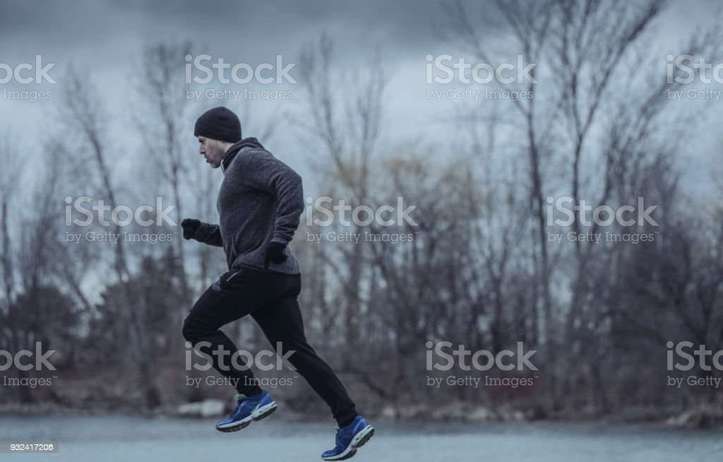 Outdoor fitness in winter stock photo