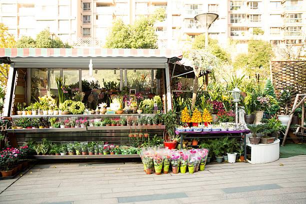 Outdoor flower shop stock photo
