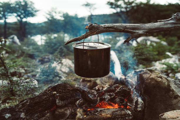 Outdoor food on fire in a camp stock photo