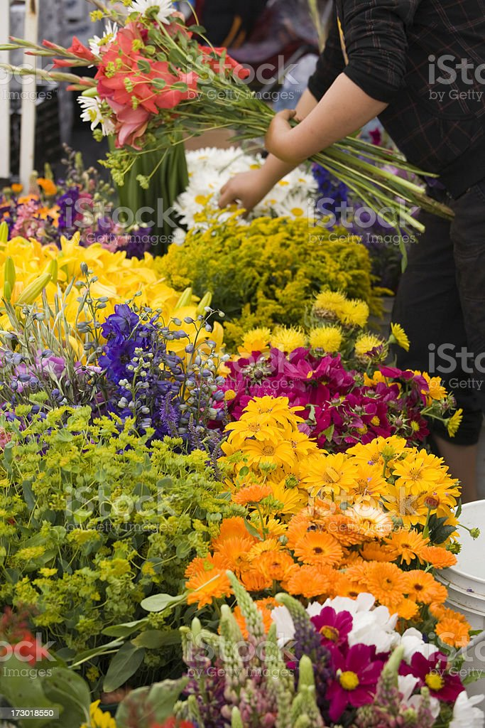 Outdoor fresh flower market stock photo