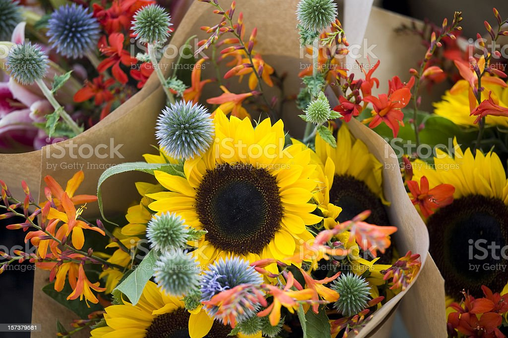 Outdoor fresh flowers at farmers street market stock photo