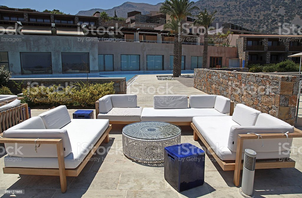 outdoor furniture in summer resort(Greece) royalty-free stock photo