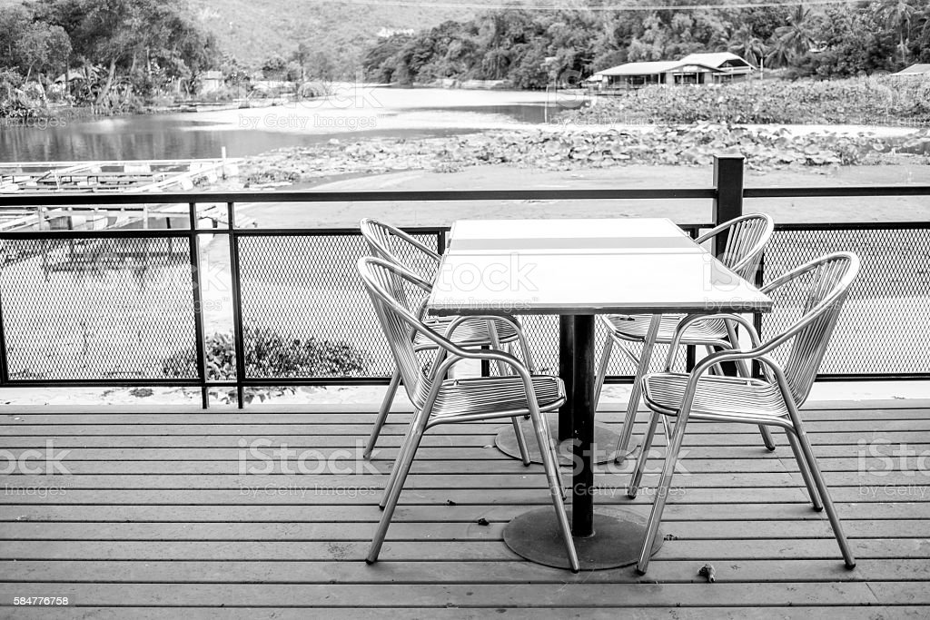 Outdoor furniture set in black and white royalty-free stock photo