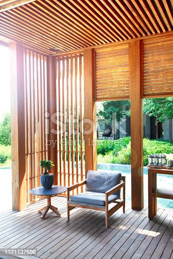 Bright terrace with a rattan corner sofa. Modern garden with outdoor furnitures.garden and Patio with outdoor furnitures.Garden lounge.