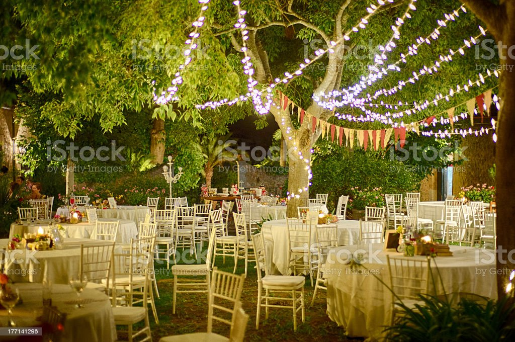 Outdoor Garden Party Setting At Night Stock Photo Download