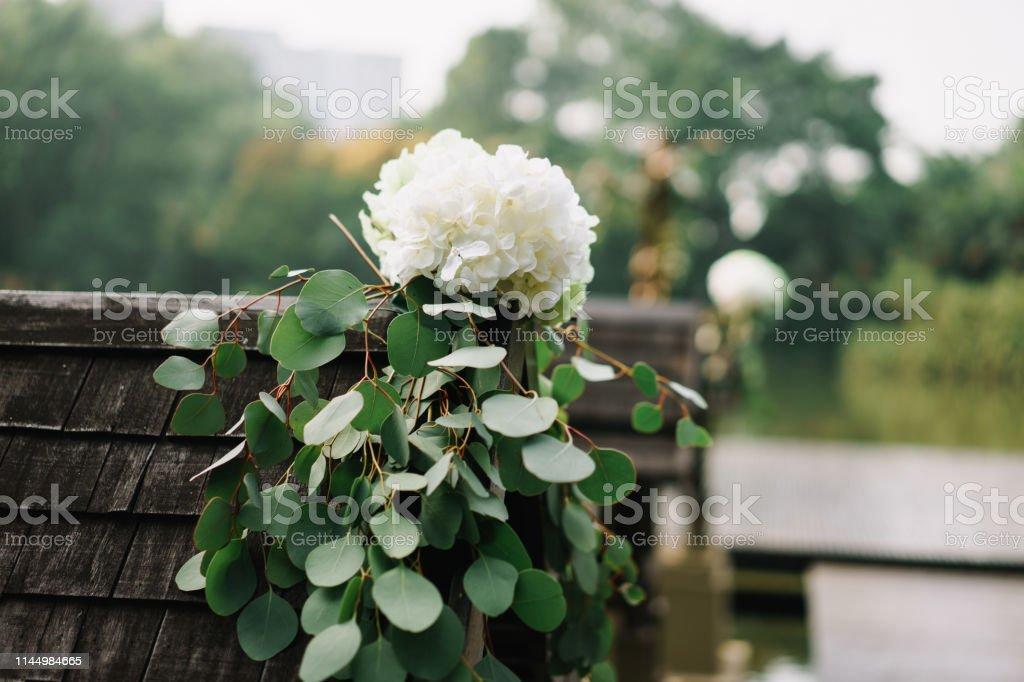 Decoración De La Flor Pasillo Boda Jardín Exterior Foto De