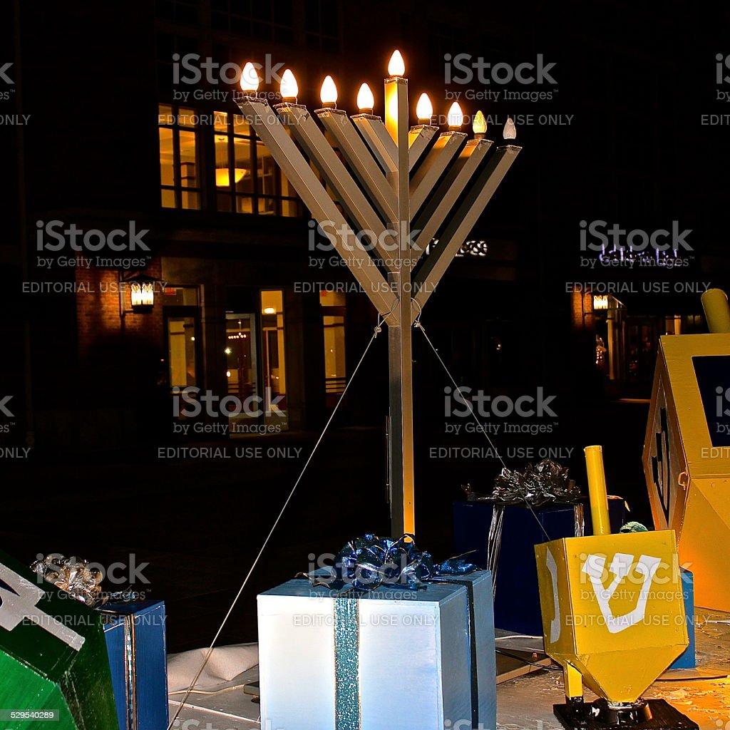 Outdoor Hanukkah display at town plaza stock photo