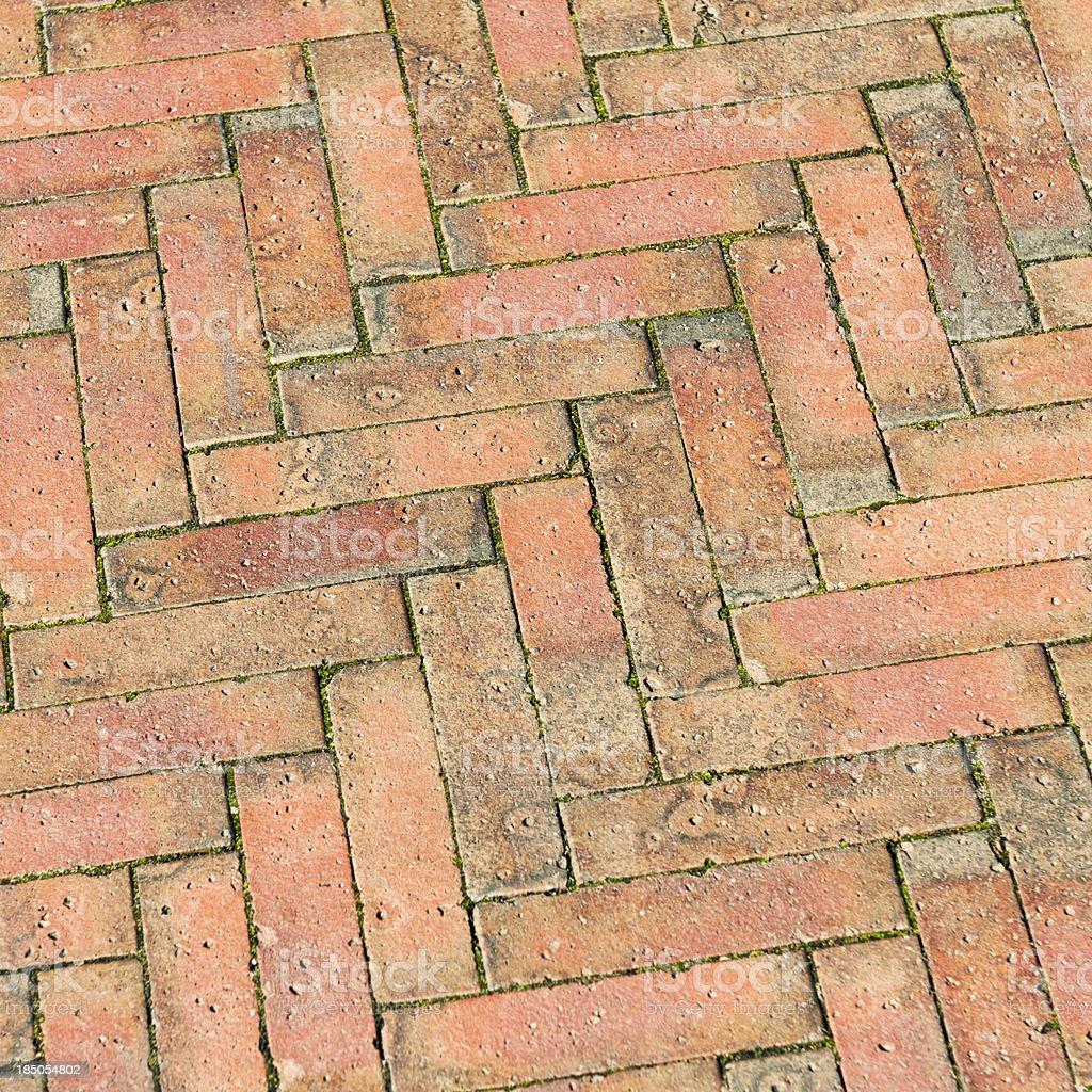 Outdoor Herringbone Brick Pattern Royalty Free Stock Photo