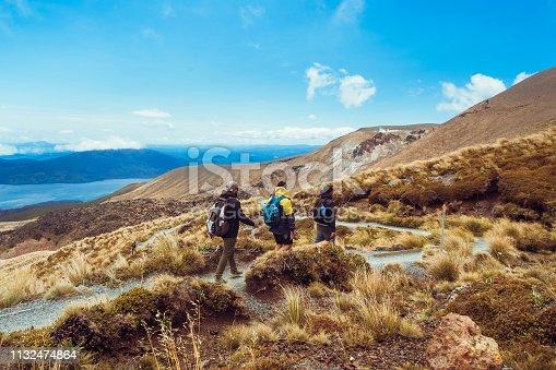 Tongariro Crossing a day hike through volcano in New Zealand.