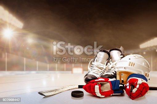 Outdoor Hockey Stadium With Equipment on Ice