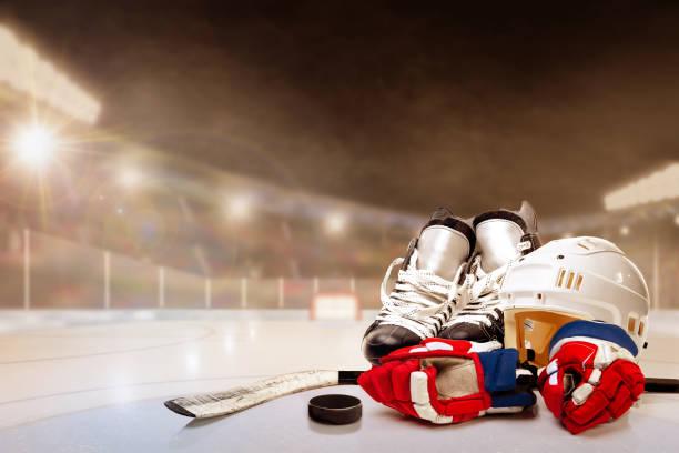 Outdoor Hockey Stadium With Equipment on Ice stock photo