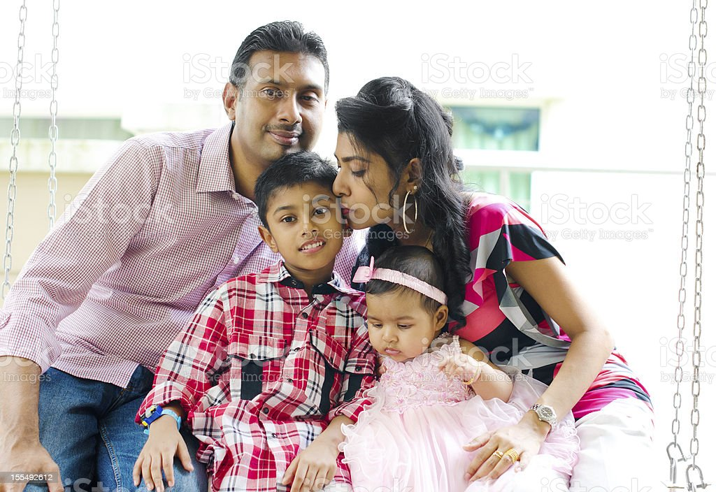 Outdoor Indian family stock photo