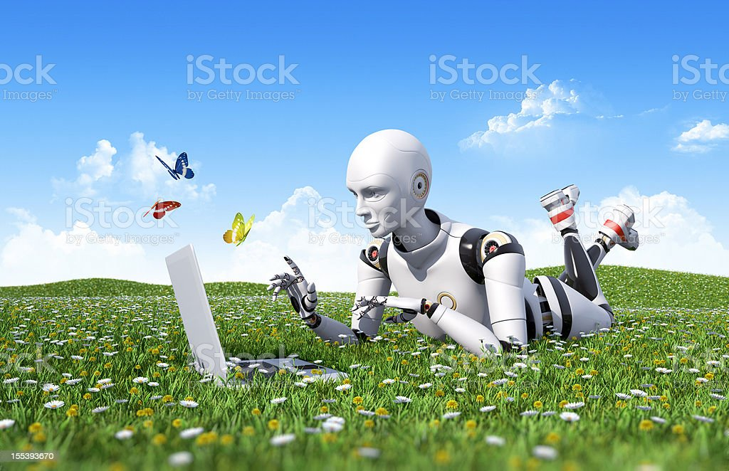 Outdoor internet surfing Cute female android lying on the green grass and using laptop Agricultural Field Stock Photo