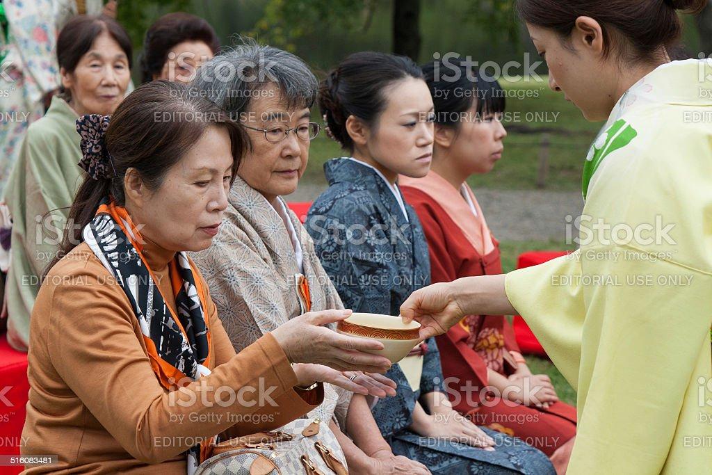 Outdoor Japanese tea ceremony stock photo