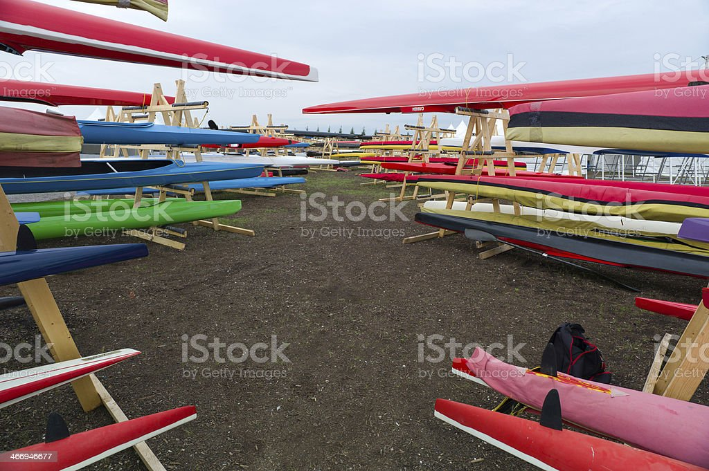 Outdoor Kayak storage royalty-free stock photo