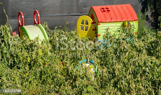 outdoor kids playground park invaded by weeds because of the Corona virus pandemic lockdown