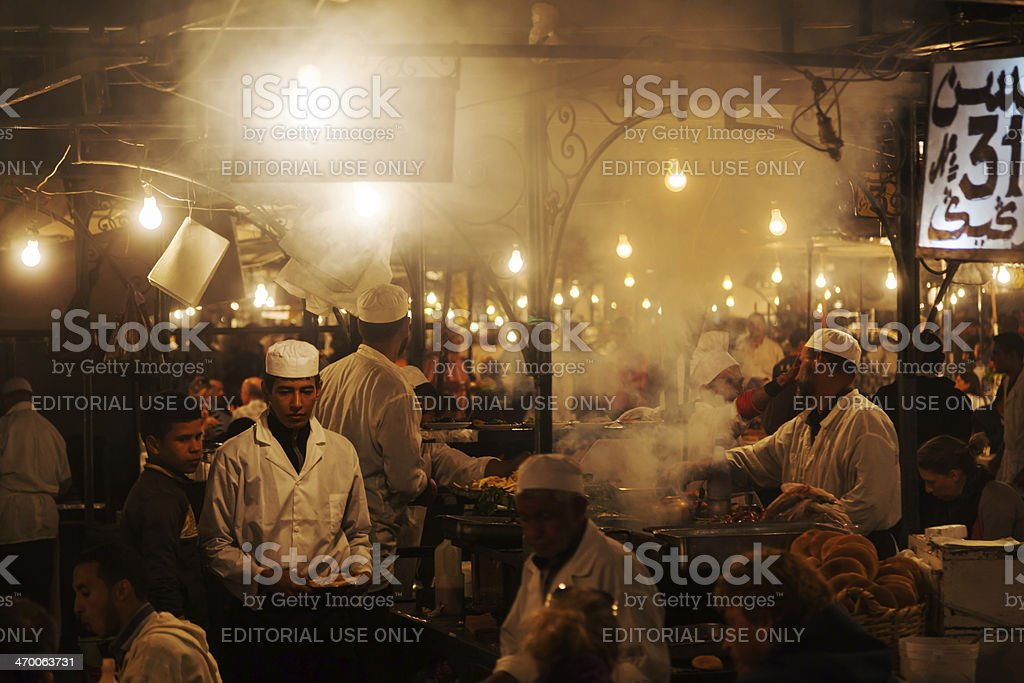 outdoor kitchen on the square Jemaa el Fna stock photo