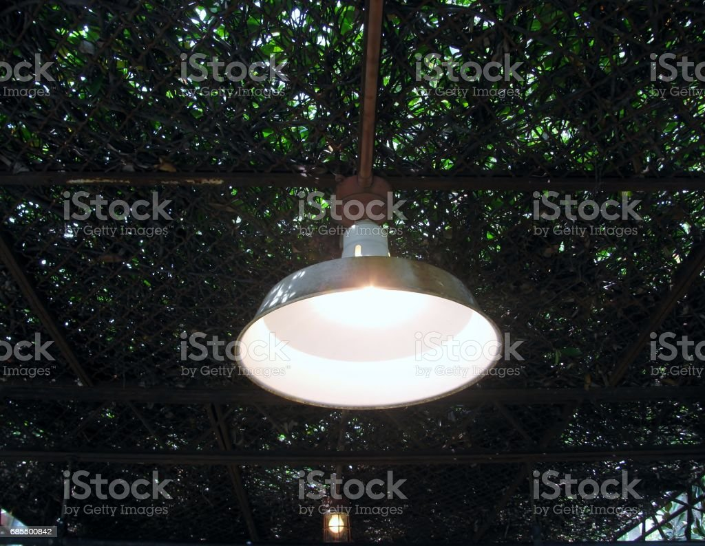 Outdoor lamp hanging in the garden at day time