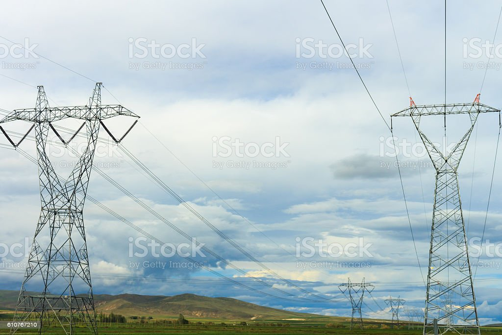 Outdoor Landscape and Great Power Lines. stock photo