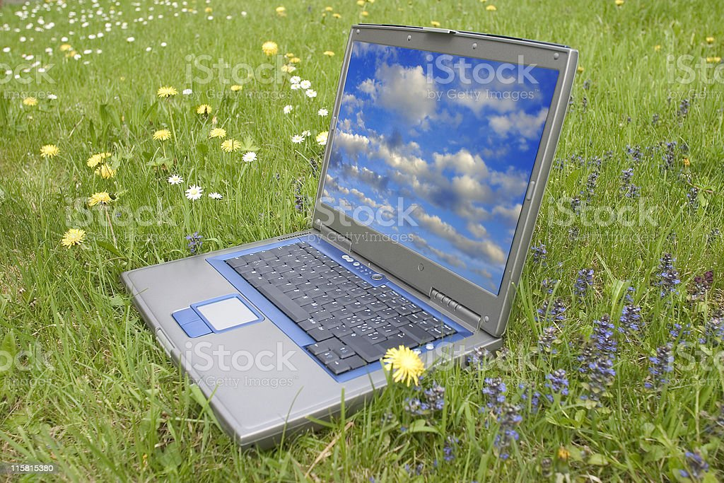 outdoor laptop royalty-free stock photo