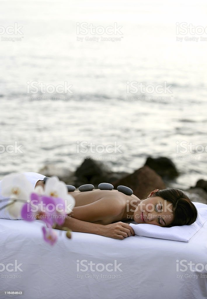 Outdoor Lastone Massage Therapy stock photo