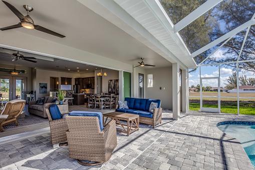 Outdoor living area poolside