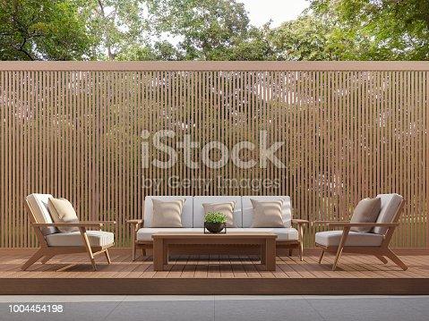 1066863894 istock photo Outdoor living area with wood slats 3d render 1004454198