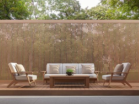 istock Outdoor living area with wood slats 3d render 1004454198