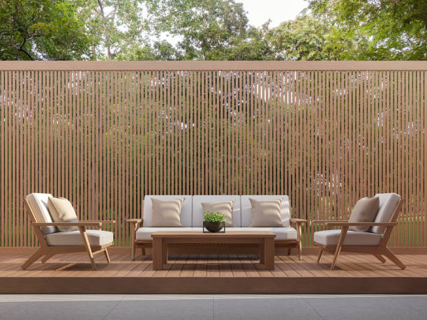 Outdoor living area with wood slats 3d render stock photo