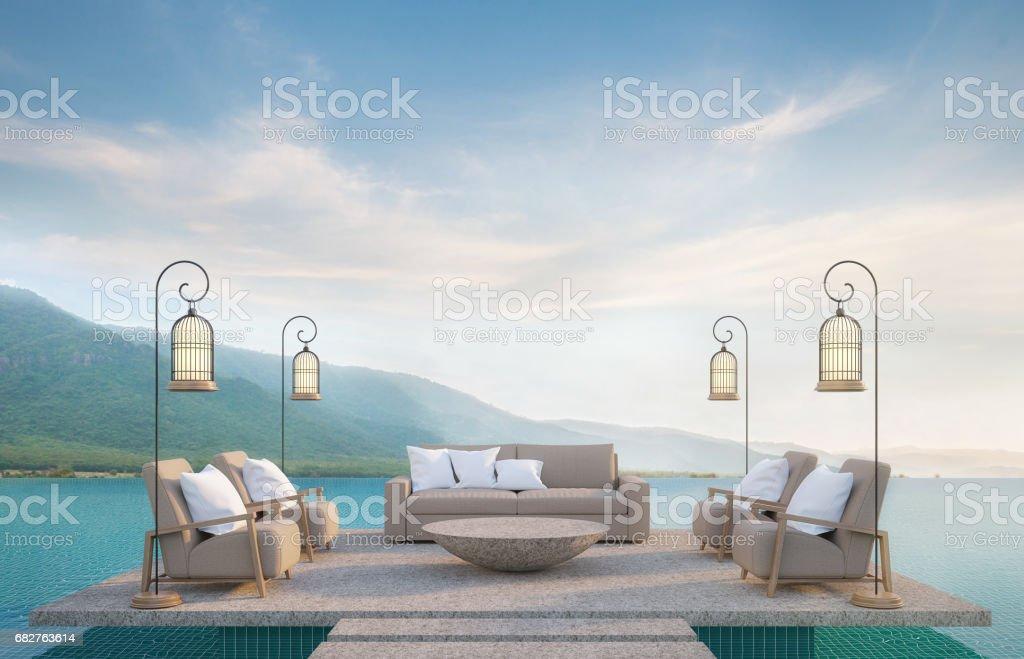 Al aire libre en la piscina con renderizado 3d de vistas a la montaña - foto de stock