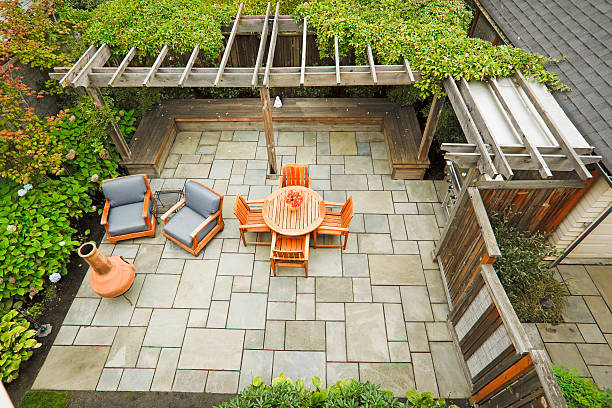 outdoor living - patio stock photos and pictures