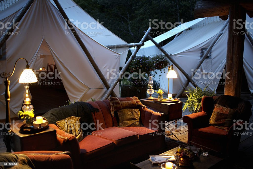 Outdoor living room and tents. royalty free stockfoto