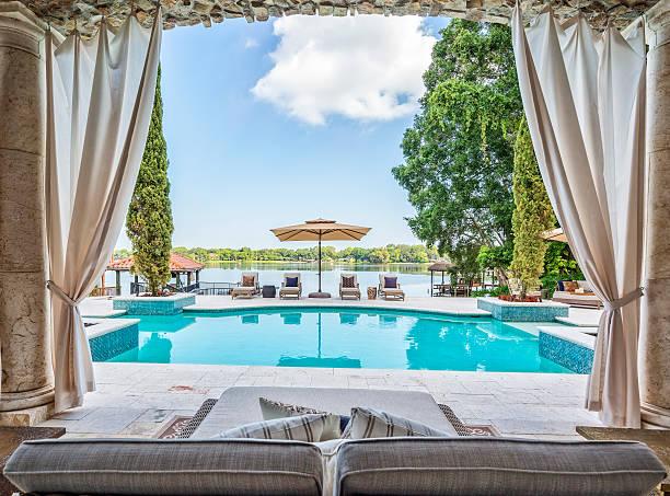 outdoor living with a beautiful view - outdoor sonnenschutz stock-fotos und bilder