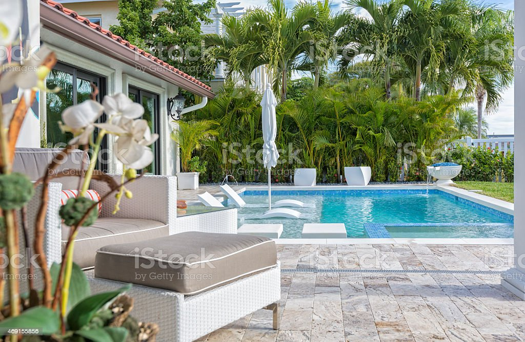 Outdoor Living with a Swimming Pool stock photo