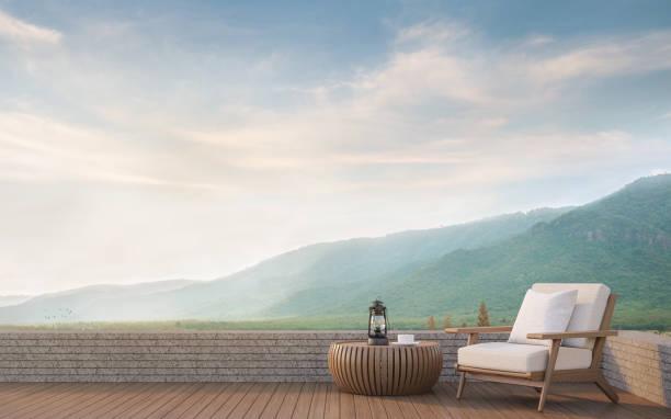 im freien mit blick auf die berge 3d-bild rendern - hotel in den bergen stock-fotos und bilder