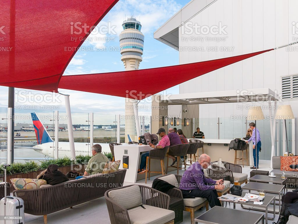 Outdoor lounge and control tower at Atlanta airport, USA stock photo